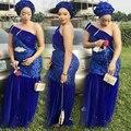 Африке Плюс Размер Королевский Синий Пром Платья Длинные Африки Нигерии одно Плечо Партия Dress Плюс Размер Пром Dress Vestido сделать бейл