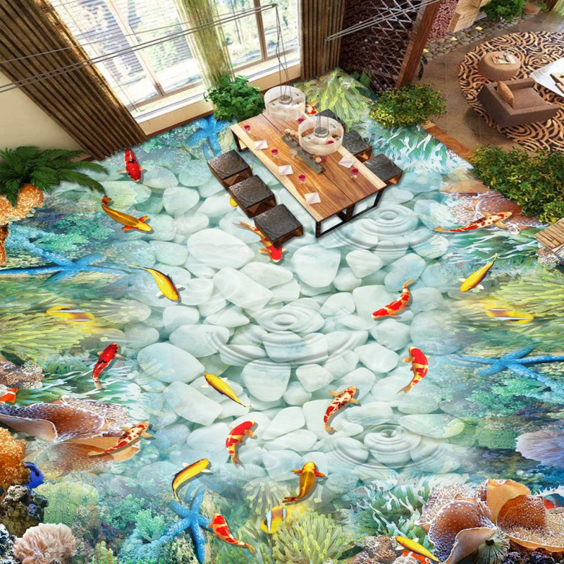 ФОТО Free Shipping Goldfish stone coral reef 3d ground background waterproof self-adhesive floor wallpaper mural