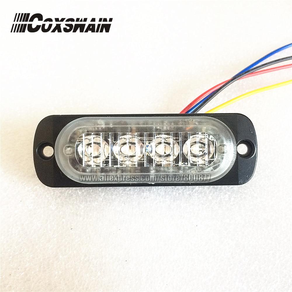 """Rendkívül vékony LED figyelmeztető felületre szerelhető rácsjelző lámpa, 0,3 """"vékony, 17 vakumintázat, 4 * 3W LED, szinkronizálható vaku (A4)"""