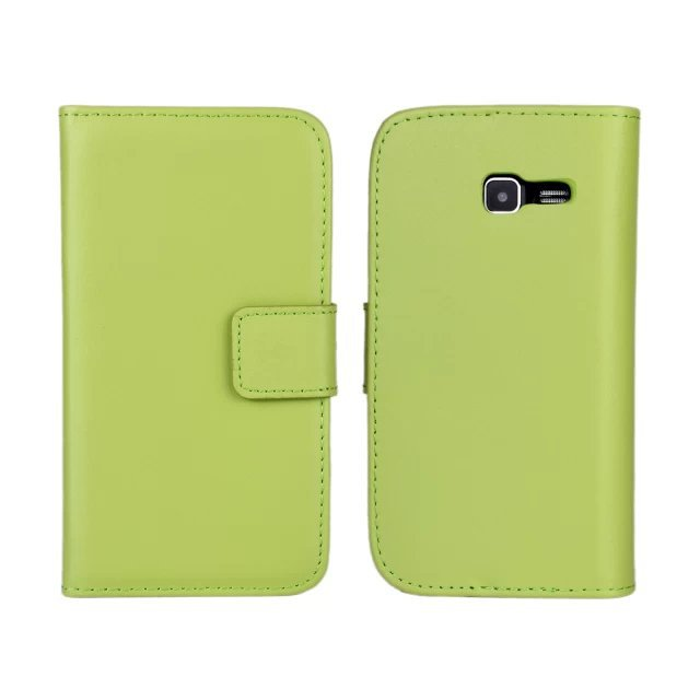 11 Color Genuine Leather Wallet Stand Case Cover For Samsung Galaxy Trend Lite S7390 with TV Function and Card Holder