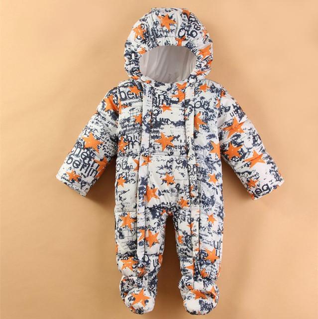 Macacão de bebê Nova estrela Inverno Meninos roupas de bebê de Alta Qualidade bebê Meninas Quentes Roupas Miúdo Macacão Casacos Crianças Desgaste Do Bebê