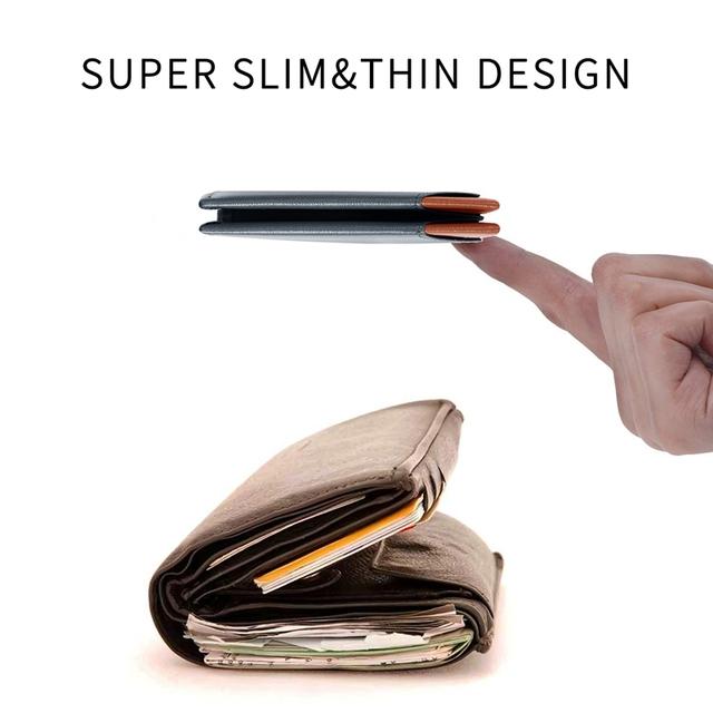 WardWolf Men Thin Wallet Purse Slim Genuine Cow Leather Small Billfold Wallet for Men Male RFID Blocking Mini Wallet Card Holder
