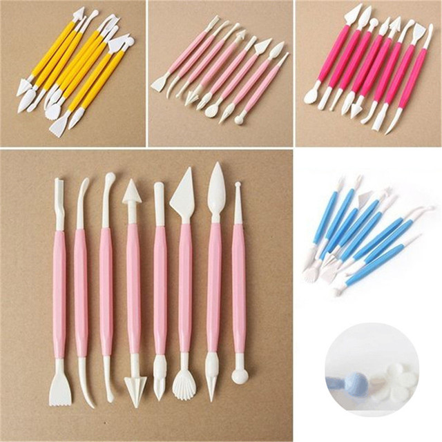 8pcs/Lot Fondant Cake Pastry Carving Cutter 16 Patterns Flower Sugar Craft Modelling Tools Clay Fondant Cake Decorating Tool