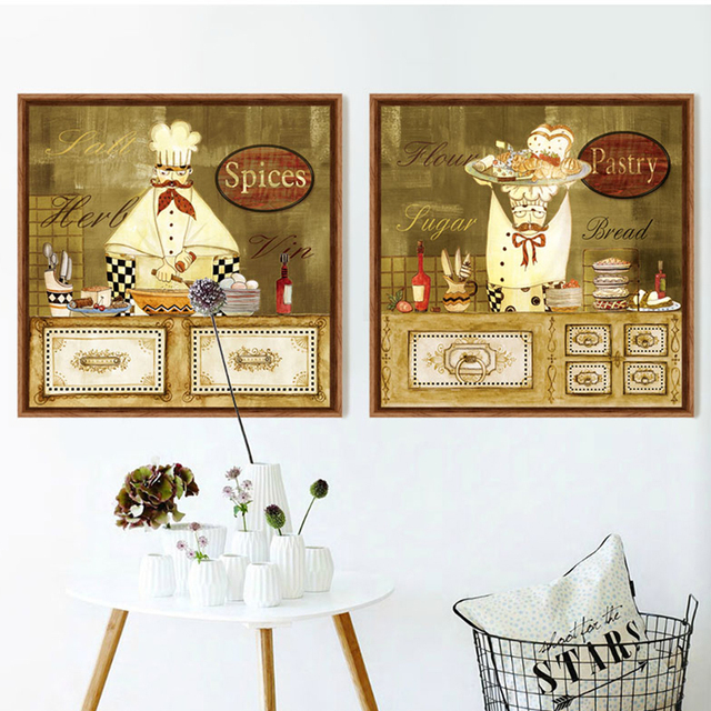 Cool bande dessine chef toile art imprimer peinture cuisine caf dcoratif photos pas cher moderne - Peinture cuisine pas cher ...