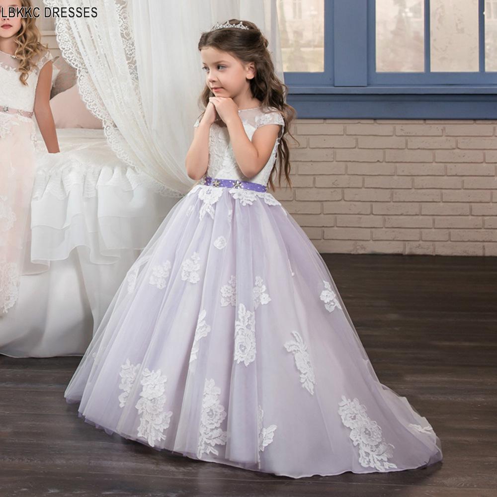 Purple   Flower     Girl     Dresses   Long 2019 Champagne Graduation   Dresses   Kids Kids Prom   Dresses   Beauty Pageant   Dresses   For Little   Girls