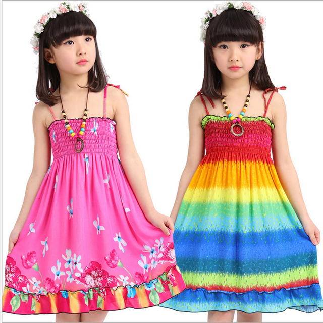 53d930e0fe35 cheap-clothes-china Bohemian soft & adjustable baby girl Dress Beach clothing  Fresh Chiffon rainbow color children clothing