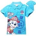Perro patrulla ropa 2016 moda de verano Casual niños bebés da vuelta abajo la camiseta impresión de la pata de los niños de la camiseta patrulla ropa