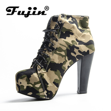 Fujin Brand Square High Heel Women Boots Spring Autumn Ankle Camouflage Pumps for Lady Sexy Heel Botas Rome Shoes