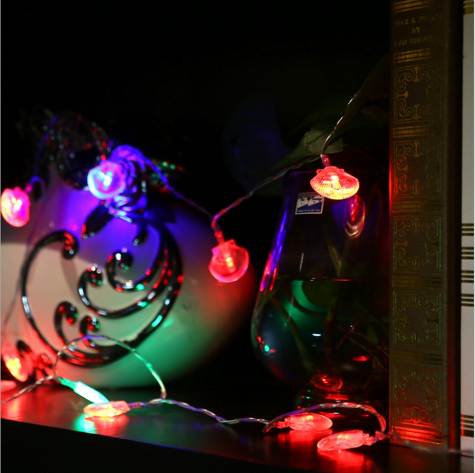 YINGTOUMAN 2017 NEW Battery Powered Shell Type LED Lamp Christmas String Light Fairy Party Wedding Holiday Decoration 7m 50LED