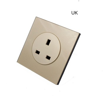 with USB Champagne Gold 1 2 3 4 Gang 1 Way 2 Way Glass Mirror Switch 86 type Wall Switch France Germany UK socket Household 16