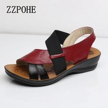 ZZPOHE Summer New Woman Soft bottom middle-aged Sandals Fashion comfortable mother sandals leather large size women's shoes 40