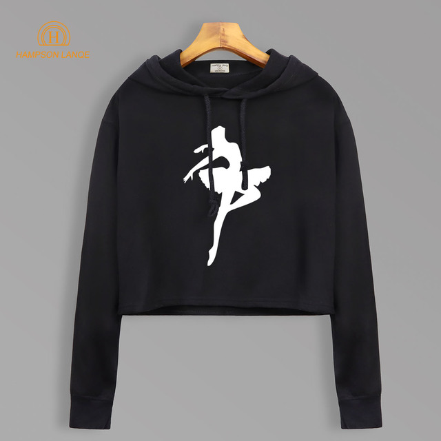 Ballet Dancer Print Dream Hoodies Autumn 2018 Short Style Cropped Sweatshirts Harajuku Kawaii Short Hoodie Fashion Women Hoody