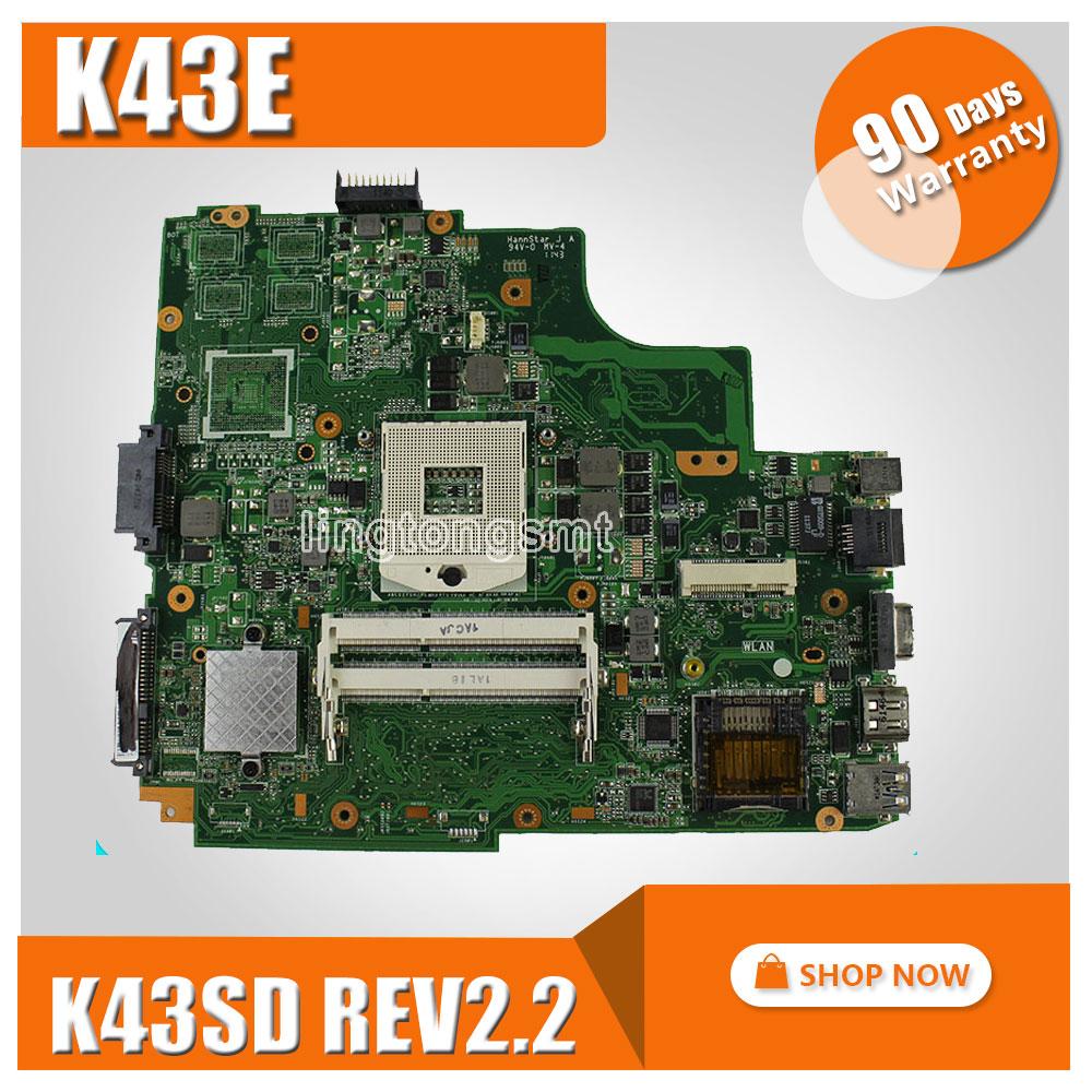 Original for ASUS K43E Mainboard A43E P43E K43E K43SD REV2.2 laptop motherboard HM65 PGA 989 100% tested laptop non integrated motherboard for k43sd k43sd main board free shipping