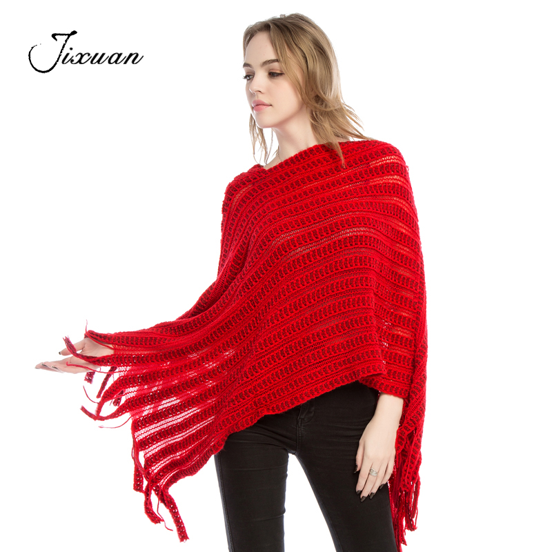 2018 Fashion Warm Women Scarves knitted Cotton Pashmina Striped female Poncho Winter tassel Shawls Capes cashmere Scarves Spring