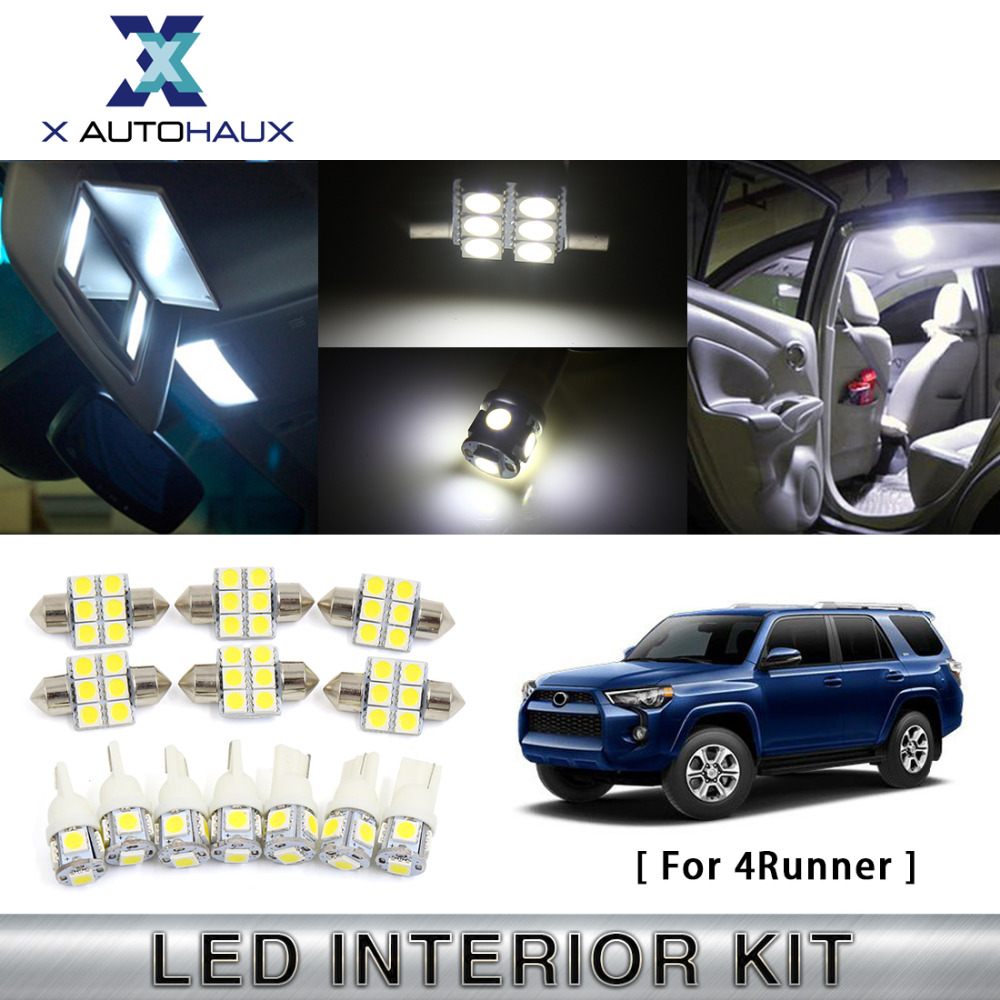 X AUTOHAUX 13PCS(7*T10+6*31mm) White Interior Step/Courtesy Reading Lamp LED Light Package Kit For Toyota <font><b>4Runner</b></font> 2003 TO 2012 image