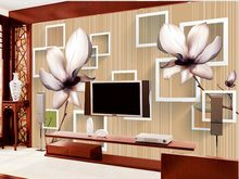 Square block 3d fantasy magnolia flower inverted image Home Decoration wall mural photo wallpaper(China)