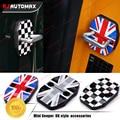 4pcs/set For Mini Cooper F55 F56 2014-2016 Car Door Lock Covers Decoration Sticker Grey Union Jack Checker Styling Accessories
