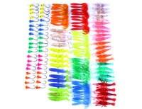 130 pçs/caixa iscas de pesca ganchos kit plástico macio manivela iscas swimbait fishhook chumbo jigs camarão t cauda worm biônico artificial|Iscas artificiais| |  -