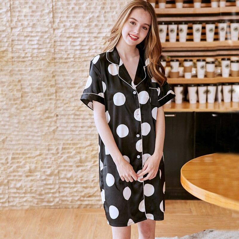 SSH0225 Women Nightgown Sleepshirts Satin Silk Sleepwear Sexy V Neck Nightdress Ladies Night Gowns Women Nightwear Night Dress