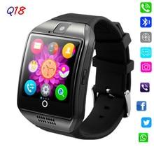 Q18 Com Câmera do bluetooth Relógio Inteligente Sincronização SMS Whatsapp Facebook Twitter Smartwatch SIM Apoio TF Cartão Para IOS Android Phone