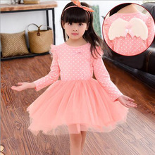 2016 fashion spring Autumn Baby Grils Clothes Long sleeves pink Lace dots grenadine Princess Dress For 3-11Age Kids Vestidos