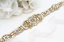 Gaun Pengantin Buatan Tangan Sabuk Emas Rhinestones Pita MissRDress Kristal Pernikahan sabuk Untuk Gaun Pengantin YS830