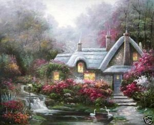 "Oil painting landscape house river flowers goose 24x36"" Guaranteed 100% Free shipping"