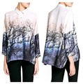 2017 Autumn New Ladies Fashion Chiffon Blouse Shirt Women Clothing Landscape Forest Print Camisas Brand Plus Size Tops