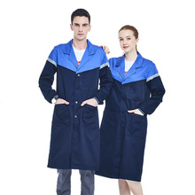 Men Navy Blue Work Coat Poly Cotton Long Sleeve Lab Coat With Reflective Tapes Workwear