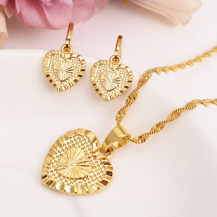 Heart Pendant Jewelry sets Classical Necklaces Earrings Set 14 k Fine Gold Filled Brass Wedding Bride's Dowry women girls gif