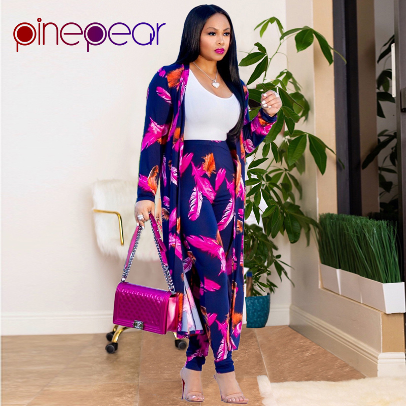 7af4d0e345f7 Aliexpress.com : Buy PinePear Fashion Women Leaf Print OL Pant Suits 2019  New Winter X Long Coat Office Lady Business Formal Party 3 Three Piece Set  from .