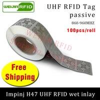 UHF RFID tag EPC 6C sticker Impinj H47 wet inlay 915mhz868mhz860 960MHZ 100pcs free shipping adhesive passive RFID label