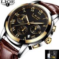 2017 New Watches Men Luxury Brand LIGE Chronograph Men Sports Watches Waterproof Leather Quartz Mens Watch