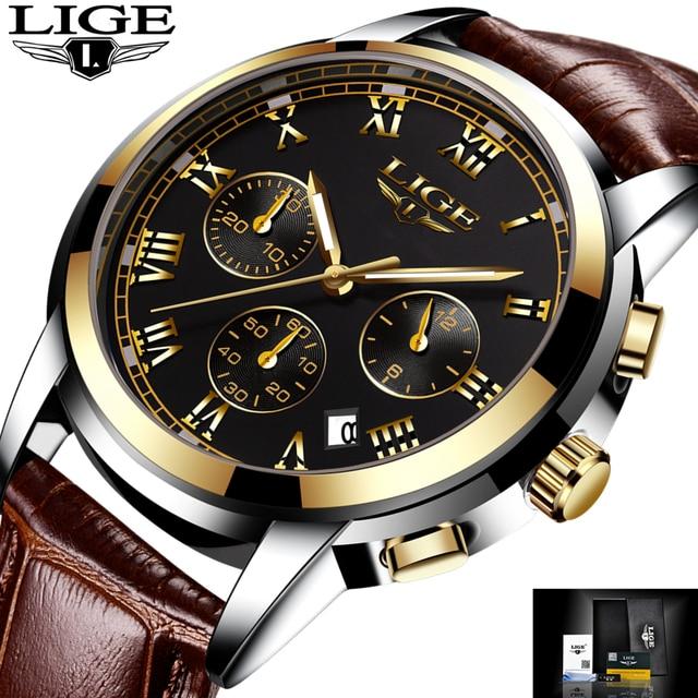 Новинка 2017 года Часы Для мужчин Элитный бренд lige хронограф Для мужчин Спортивные часы Водонепроницаемый кожа человек часы кварцевые Для мужчин S Relogio Masculino