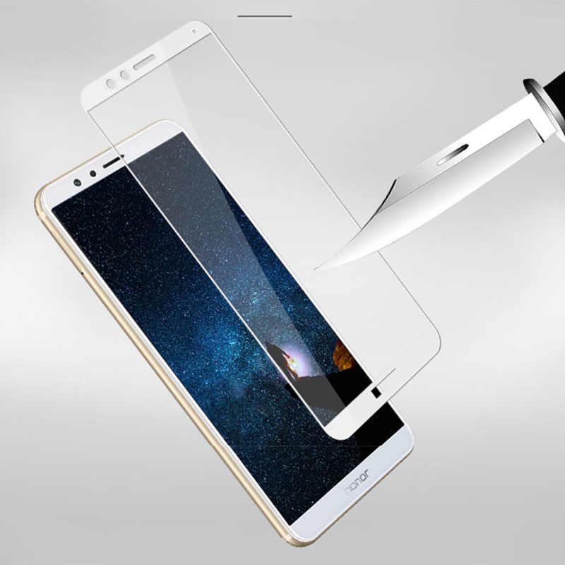 2 Pcs Tempered Glass untuk Huawei Honor 7X Case Penutup Penuh Pelindung Layar Pelindung Keselamatan Tremp Di BND L21 7 X X7 Honor7x 5.93