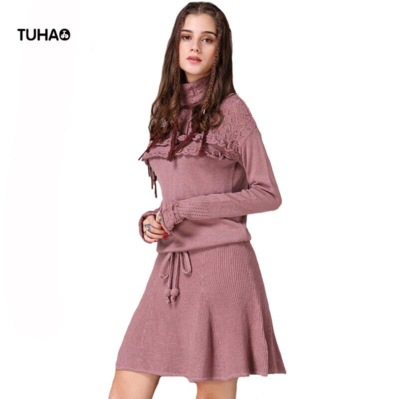 Robe Longues Tuhao Casual Pull T82075 Col Manches No1 Femmes Robes Hiver Ruches Tricoté À no2 Roulé aaEwRU