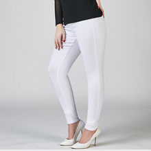 Hot Sale Women's Skinny Stretch Tight Elastic Band Middle Waist Pants Ladies White Black Pure Color Pencil Feet Pants Cowboys