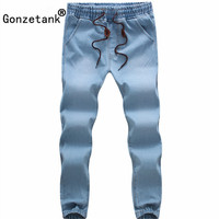 GONZETANK 2017 Small Feet Elastic Band Jeans Pants For Men Classical And Straight Boyfriend Narrow For