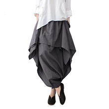 Johnature 2019 新しい女性ワイド脚ルースリネンコットン非対称パンツオリジナルデザイナープラスサイズのカプリパンツ Elastc ウエストスカート