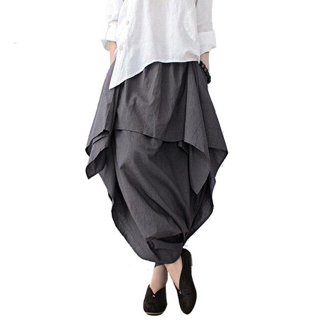 Johnature 2019 nowych kobiet szerokie nogawki luźna, z lenu bawełniane asymetryczne spodnie oryginalny projektant Plus rozmiar Capris elastan spódniczka z wysokim stanem
