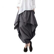 Johnature 2020 חדש נשים רחב רגל Loose אסימטרית מכנסיים פשתן כותנה מקורי מעצב בתוספת גודל Capris Elastc מותן חצאית