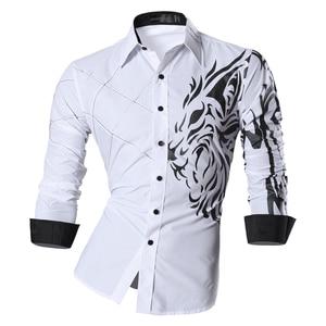 Image 4 - Jeansian 남자 패션 드레스 셔츠 캐주얼 긴 소매 슬림 맞는 Tatoo 세련 된 Z030