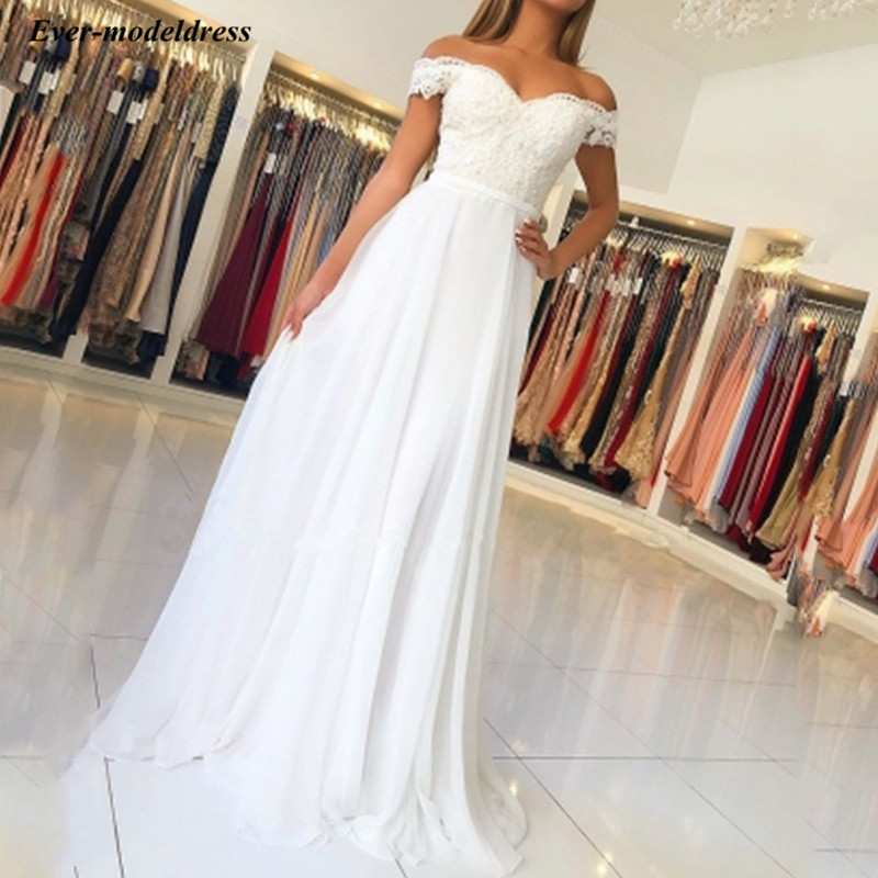 White Chiffon Off The Shoulder   Prom     Dresses   lace Appliques Simple Gala Party Gowns 2019 vestido de formatura