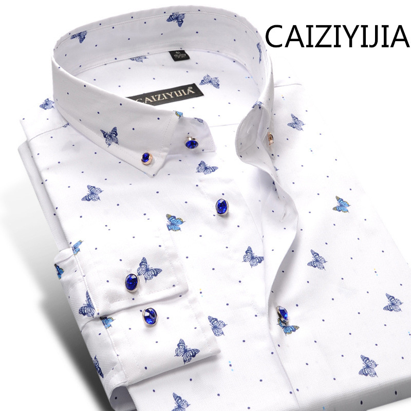 CAIZIYIJIA New Arrivals Men Silm fit Long Sleeve Dress Shirt Fashion Butterfly Printed Imported Clothing Camisas Silm Masculina