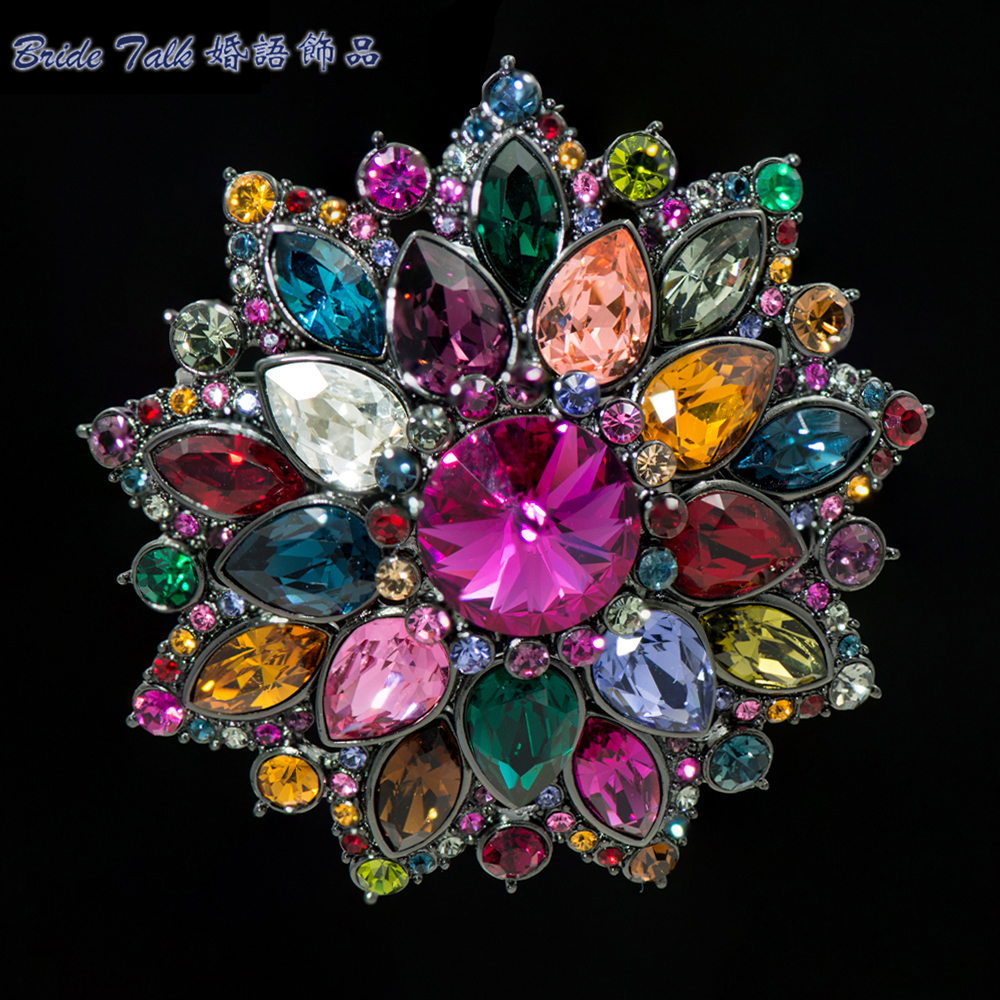 Hi-Q Flower Brooch 100% Austrian Crystals Broach Pins for Women Jewelry Accessories Wedding Bouquet Birthday Gifts 3882 newest car code readers