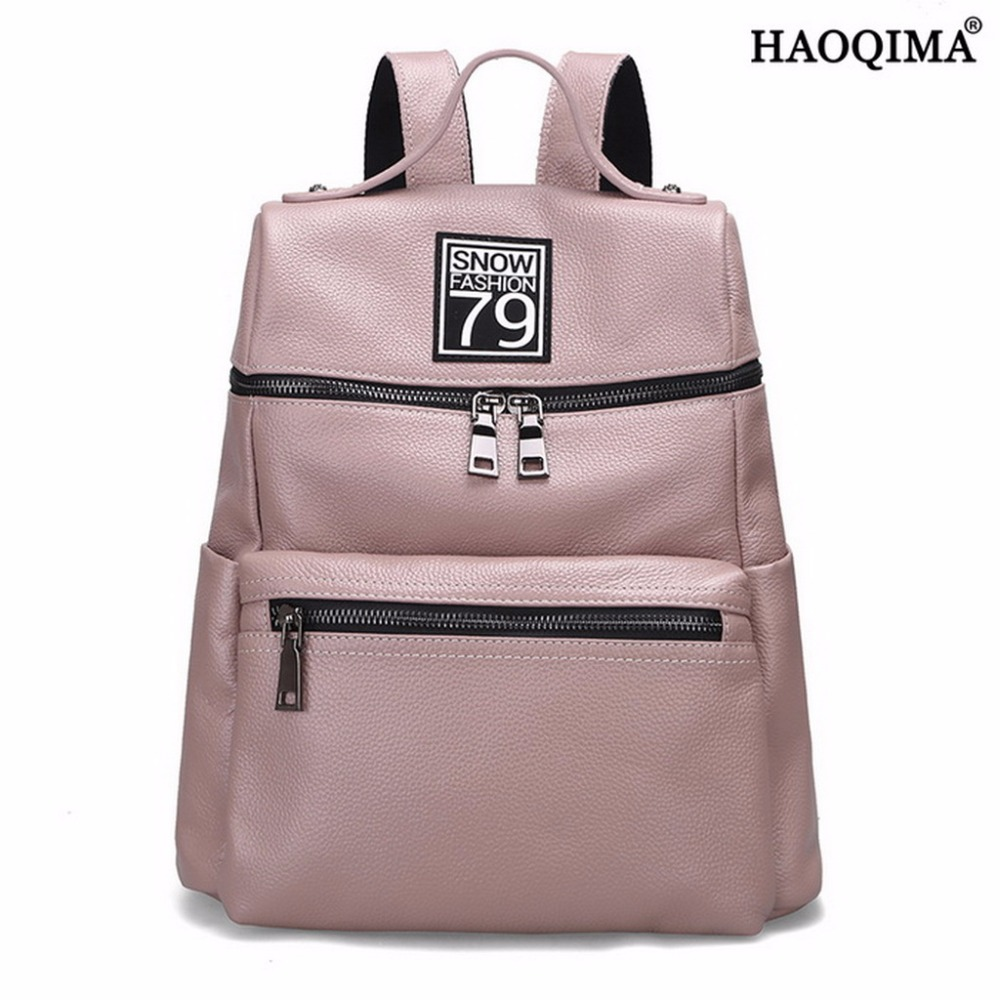HAOQIMA Backpack Genuine Cow Leather School Backpacks Real Cowhide Women Girl Fashion Popular Designer Shoulder Bag zency fashion leather backpack real natural genuine leather women backpacks ladies girl school bag top layer cowhide mochila