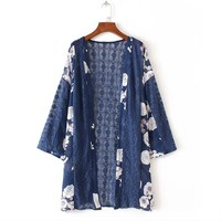 Boho 2017 Women Floral Printed Chiffon Casual Loose Lace Crochet Splice Kimono Tops Cardigan Sun Long
