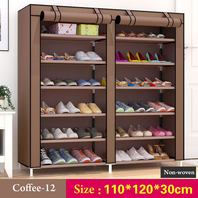 Image 4 - 43.3 inch 7 layer 9 grid Non woven fabrics large shoe rack organizer removable shoe storage for home furniture shoe cabinet-in Shoe Cabinets from Furniture