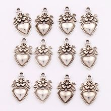 Flower Heart Strawberry Fuit Charm Beads Pendants Alloy Handmade Jewelry DIY L914 26pcs 11.5x18.1mm Antique Silver