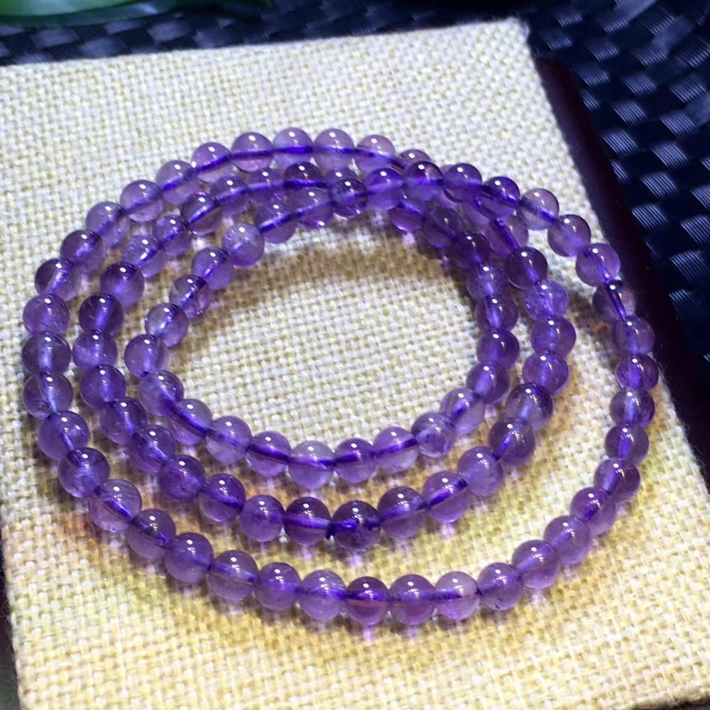 Genuine Natural Lavender Amethyst Quartz Crystal Clear Round Beads Bracelet 6mm 3 Laps Women Men Jewelry Healing Necklace AAAAA in Bracelets Bangles from Jewelry Accessories